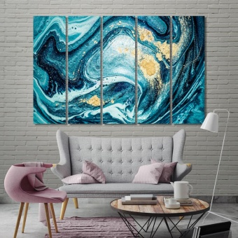 Blue abstract large modern wall art, gold abstract canvas art