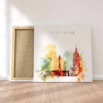 Cleveland watercolor painting on canvas, Ohio living room art