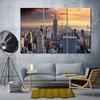Empire State Building living room wall decor, New York art home