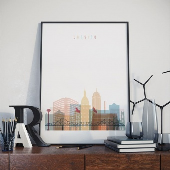 Lansing home decor print, Michigan bedroom wall decoration