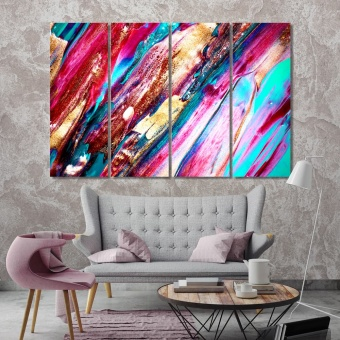 Colorful abstract paintings for living room, brush strokes art wall