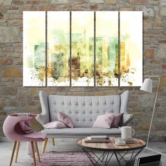 Fortaleza cool art for walls, Brazil watercolor drawing on canvas