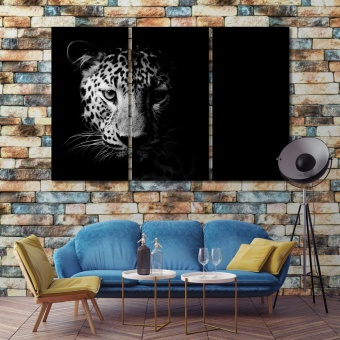 Leopard black and white framed wall art, animal art
