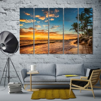 Tropical island beach pictures for living room decor