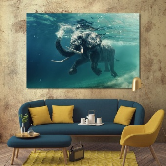 Elephant wall art canvas prints, elephant under water wall decor