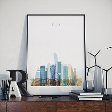Doha skyline print, Qatar dining room pictures for walls