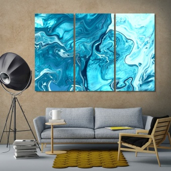 Abstract blue framed wall art for living room, abstract art