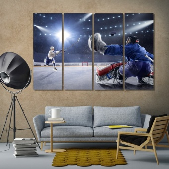 Hockey game artwork for home, winter sport print canvas art