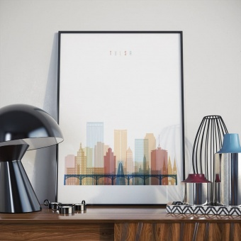 Tulsa home decor print, Oklahoma modern art wall decor