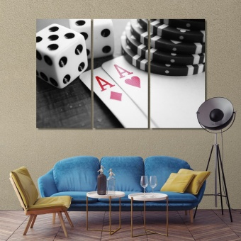 Poker kit contemporary wall decor, poker game print canvas art
