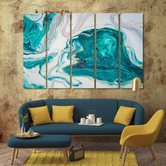 Turquoise and cream abstract art designer wall art