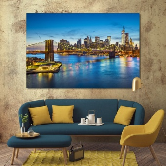 East river in New York wall pictures for dining room
