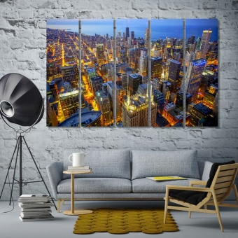 Chicago skyline print canvas art, ‎Illinois wall art modern