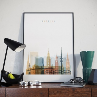 Hamburg art print, Germany beautiful pictures for living room