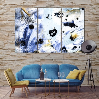 Blue and gold abstract art large artwork for living room