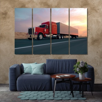 Truck on the road canvas wall art contemporary, transport logistics