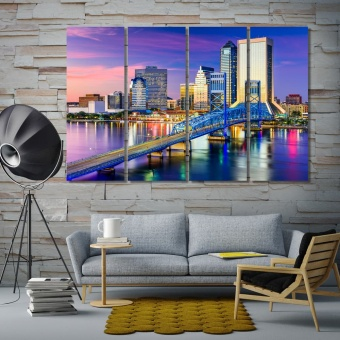 Jacksonville downtown city skyline art for homes, Florida decor art