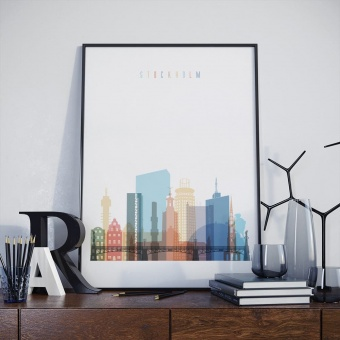 Stockholm skyline print, Sweden wall decor kitchen