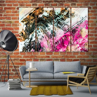 Abstract art gold colors and sparkles wall decor pictures