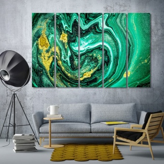 Emerald abstract art wall decorating ideas with pictures