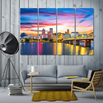 Portland artistic prints on canvas, Oregon modern art wall decor