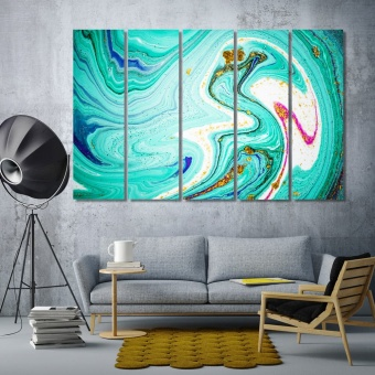 Gold and turquoise abstract art contemporary canvas wall art