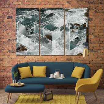 Abstract sea geometric art contemporary wall art decor