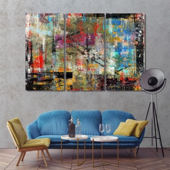 Colorful shabby picture contemporary canvas wall art