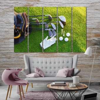 Golf wall decor and home accents, golf equipment canvas room decor