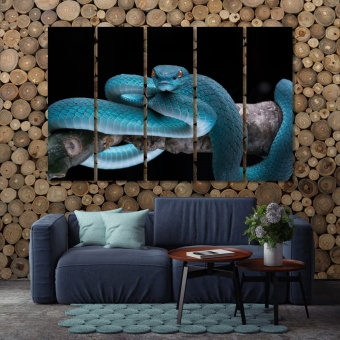 Blue snake  canvas art home decor, snake on the tree canvas print art