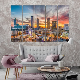Atlanta evening city print canvas art