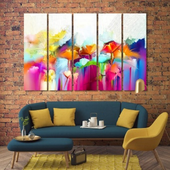 Flowers abstract colorful oil painting on canvas print wall art