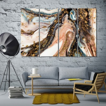 Gold's drops abstract canvas prints art, marble abstract decor art