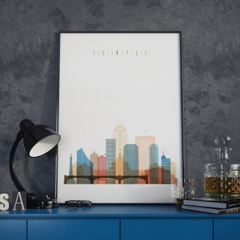 Indianapolis cityscape art print, Indiana walls decoration