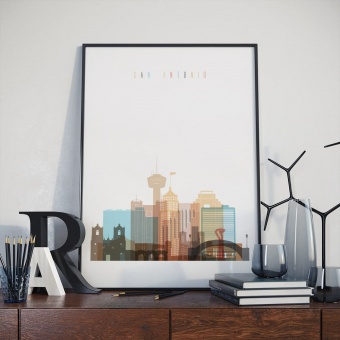 San Antonio art print, Texas art for living room