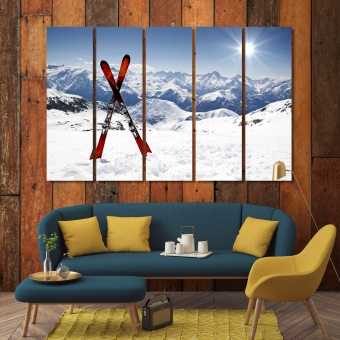 Ski wall art for living room, modern wall decorations