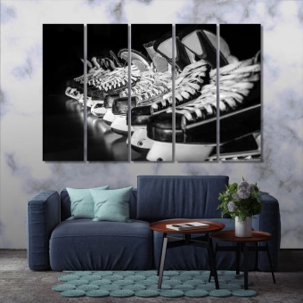 Hockey skates black and white pictures canvas, sport shoes art wall