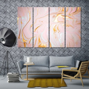 Pink abstract art prints on canvas, abstract wall decor