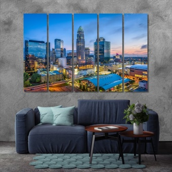 Charlotte modern art wall decor, North Carolina art for the home
