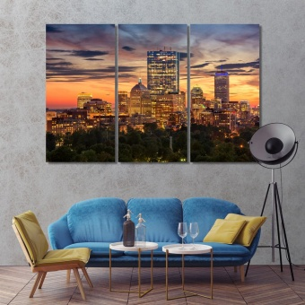 Boston wall canvas decor, Massachusetts artwork for offices