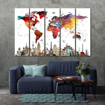 Push pin world map home decor pictures, map with monuments print art