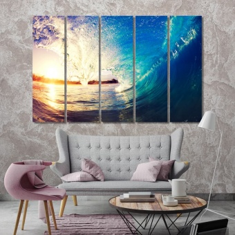 Sunrise wave pictures for bathroom wall decor, wave print canvas art