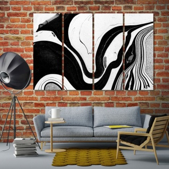 Black & white abstract wall art living room wall decor ideas