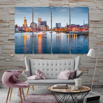 Providence evening city cool wall art, Rhode Island home decor picture