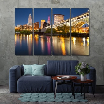 Cleveland painted wall art, ‎Ohio canvas wall decor